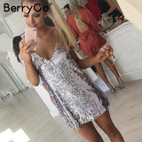 Sexy Silver Sequin Women Dress Deep V Neck Sleeveless Short Dress Dresses