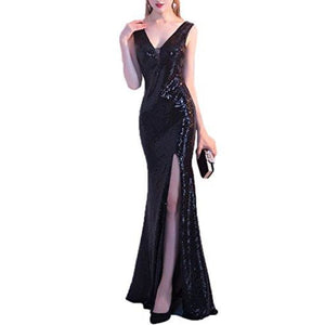 Sexy V Neck Sequins Mermaid Evening Formal Dress With High Slit 2 / Black
