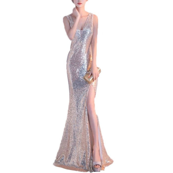 Sexy V Neck Sequins Mermaid Evening Formal Dress With High Slit