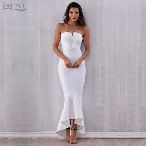 8f379fb08a Sexy White Strapless Ruffles Women Long Club Dress