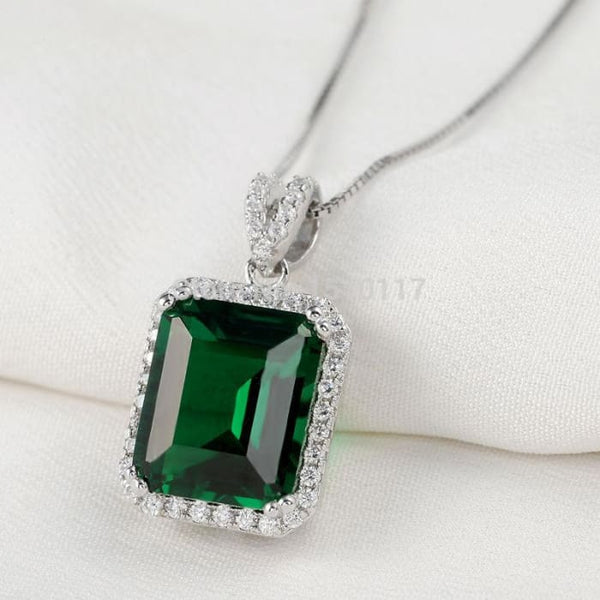 Ship From Usa Elegant Green Zironia Emerald Cut Pendant Real 925 Sterling Silver Chain Necklace Classic Jewelry Gift For Women Pendants