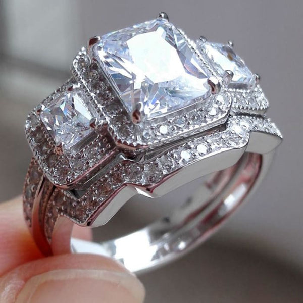 Ships From Usa 1.8 Ct Glorious Emerald Cut Aaa Cz Solid 925 Sterling Silver Wedding Ring Sets Trendy Fine Jewelry Free Shipping Rings