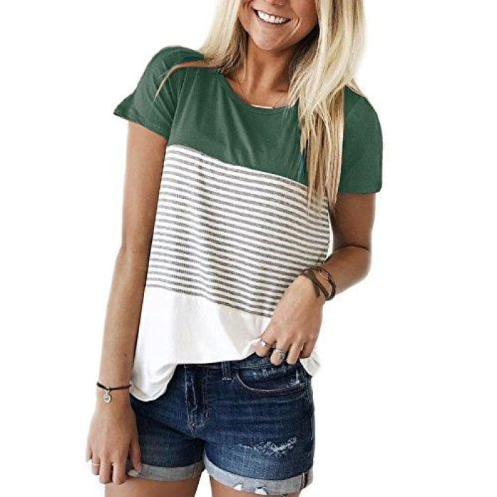 Short Sleeve Round Neck Striped Color Block T-Shirts