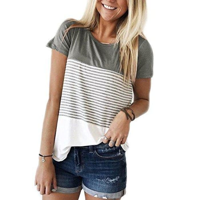 Short Sleeve Round Neck Striped Color Block T-Shirts Grey / Small