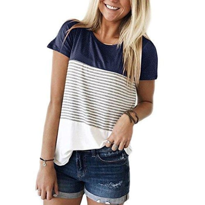 Short Sleeve Round Neck Striped Color Block T-Shirts Navy / Small