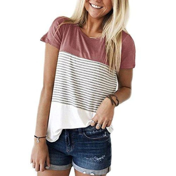 Short Sleeve Round Neck Striped Color Block T-Shirts Red / Small