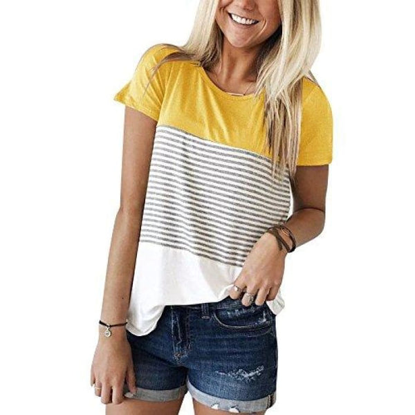 Short Sleeve Round Neck Striped Color Block T-Shirts Yellow / Small