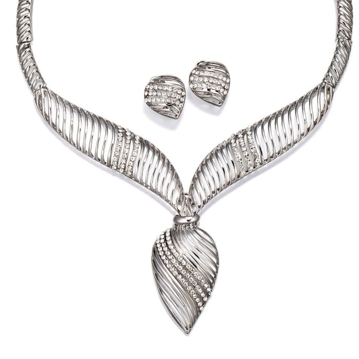 Silver Bud Of Lotus Necklace Set Women - Jewelry - Necklaces