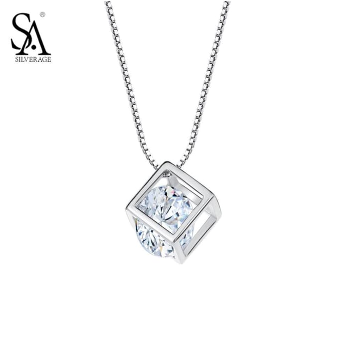 Silver Pendant Cube 925 Sterling Silver Necklaces & Pendants Necklaces