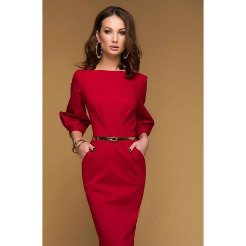 Simple Red Midi Dress.day Dress With Pockets.jersey Dress Spring.straight Silhouette Dress Day.