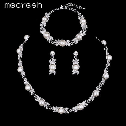 Simulated Pearl Bridal Jewelry Sets Silver Color Wedding Necklace Sets Jewelry Sets