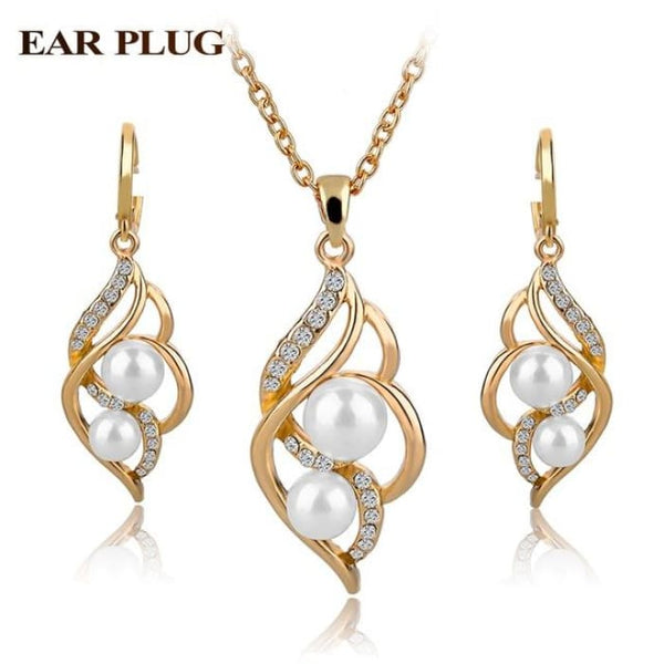 Simulated Pearl Indian Wedding Jewelry Sets For Women Bridal Gold White Jewelry Sets