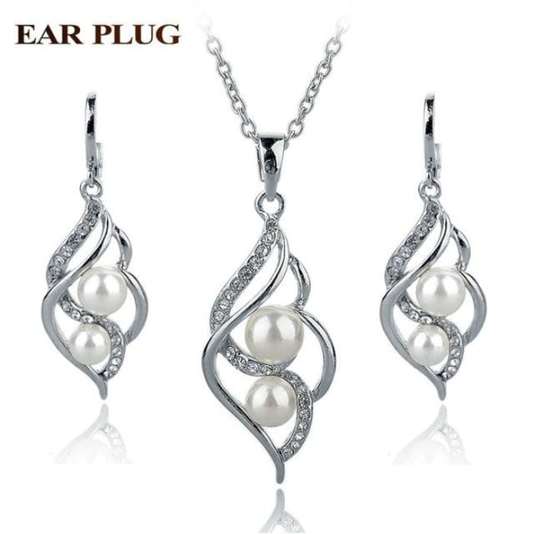 Simulated Pearl Indian Wedding Jewelry Sets For Women Bridal Silver White Jewelry Sets