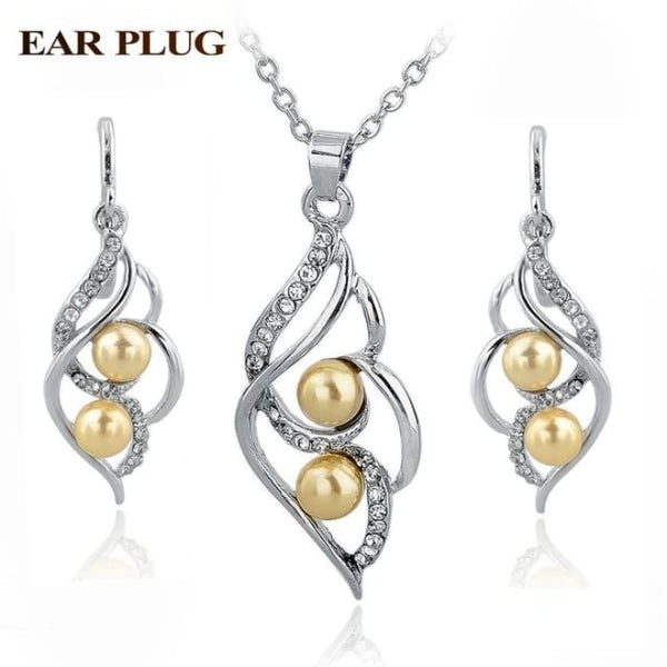 Simulated Pearl Indian Wedding Jewelry Sets For Women Bridal Silver Yellow Jewelry Sets