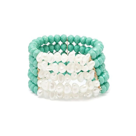 Simulated Sea Shell Stretch Bracelets