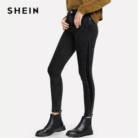 Skinny Button Fly Zipper Fly Jeans 2018 Autumn Women Trousers