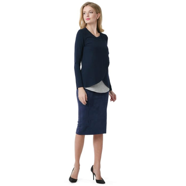 Skirt Dermis for pregnant eco-suede 2 in 1 ; dark-blue colour 3_maternity