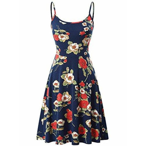 Sleeveless Adjustable Strappy Flared Midi Skater Dress Back To Kira Store