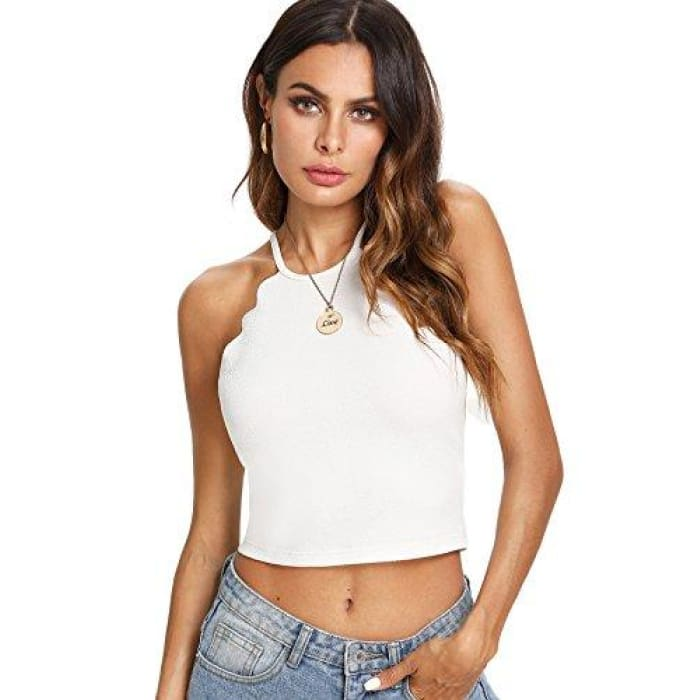 36419692037c5a Solid Halter Neck Cami Scallop Trim Workout Crop Top X-Small   White