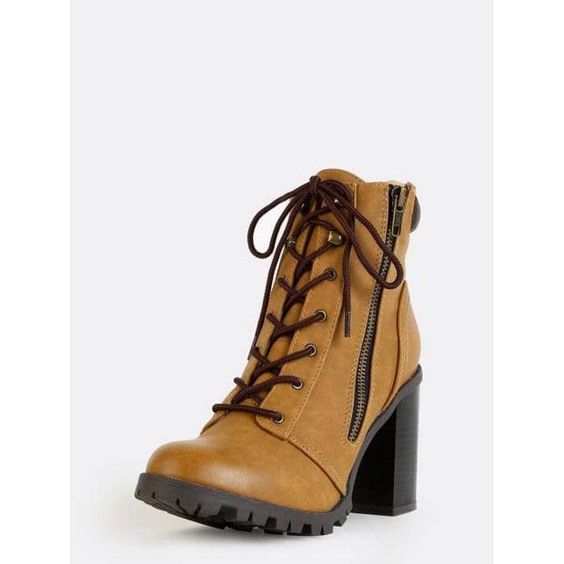 Stacked Heel Outdoor Ankle Boots Camel Boots