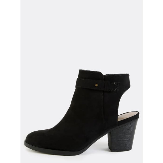 Stacked Heel Suede Ankle Boots Black Boots