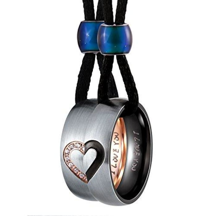 Stainless Steel Necklaces For Couples Heart Matching Rings For Men And Women Pendant Rope Cz