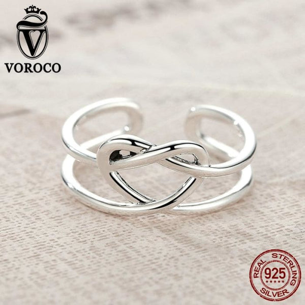 Sterling Silver 925 Heart Knot Band Rings