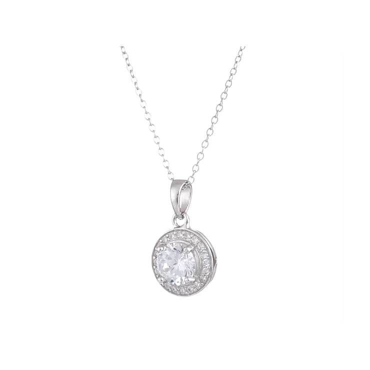 Sterling Silver Cubic Zirconia Round Halo Earrings And Pendant Necklace Jewelry Set 18 Fashion