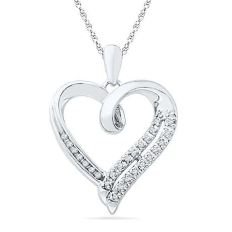 Sterling Silver Round Diamond In Heart Pendant (1/10 Cttw) Back To Search Results For Neckless