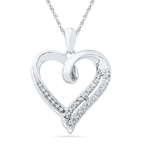 Sterling Silver Round Diamond In Heart Pendant (1/10 Ctw) Pendants