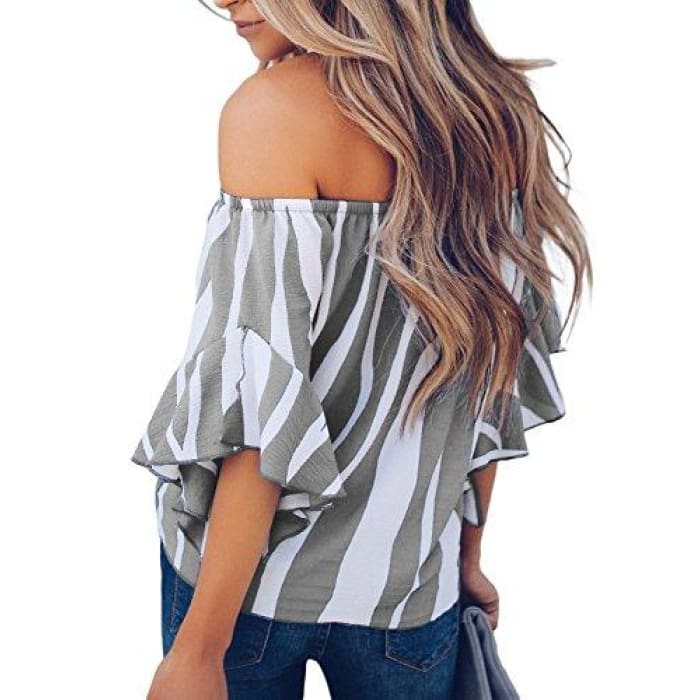 d40fe54bb0b2d2 Striped Off Shoulder Bell Sleeve Shirt Tie Knot Casual Blouses Tops Blouses    Button-Down