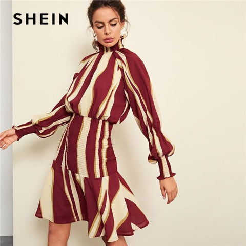 Striped Ruched Minimalist Dress Autumn Women Streetwear Dresses