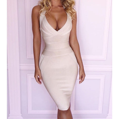 Striped V Neck Sexy White Dress Elegant
