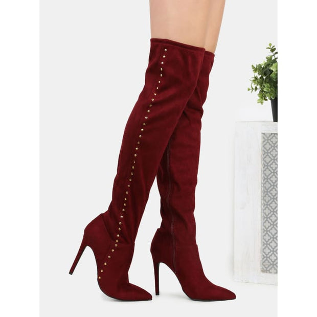 Studded Suede Stiletto Boots Burgundy Boots
