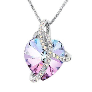 Sues Secret Courageous Heart Gradient Purple Noble Heart Pendant Necklace With Crystals From Swarovski Fashion