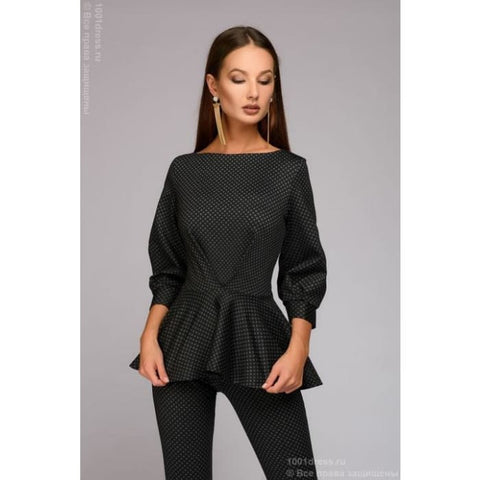 Suit DM00672GY08 from trousers and top with a multi-level Basque; color: dark gray with fine print