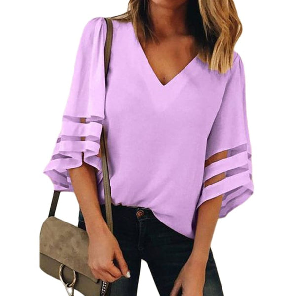 Summer 3/4 Bell Sleeve V Neck Casual Chiffon Blouse