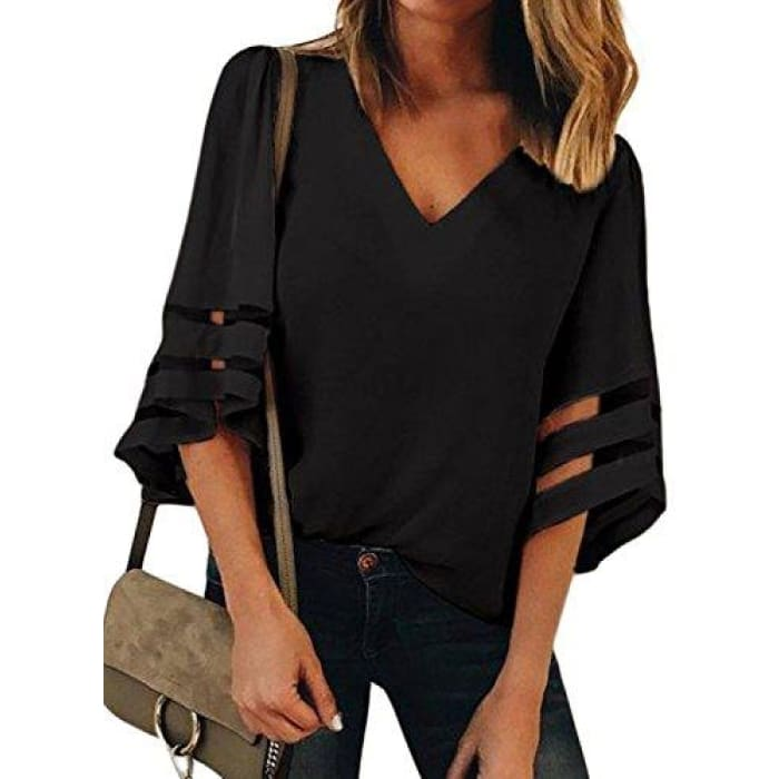 Summer 3/4 Bell Sleeve V Neck Casual Chiffon Blouse Small(Us4-6) / Black