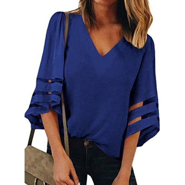 Summer 3/4 Bell Sleeve V Neck Casual Chiffon Blouse Small(Us4-6) / Blue