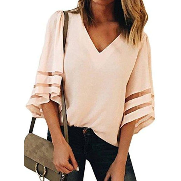 Summer 3/4 Bell Sleeve V Neck Casual Chiffon Blouse Small(Us4-6) / Pink