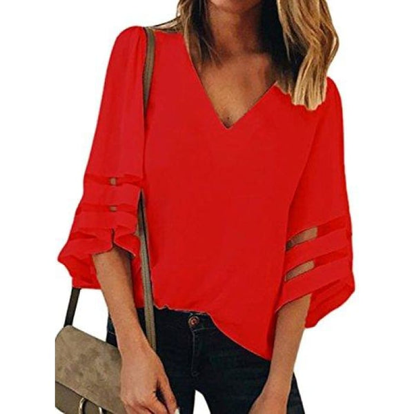 Summer 3/4 Bell Sleeve V Neck Casual Chiffon Blouse Small(Us4-6) / Red