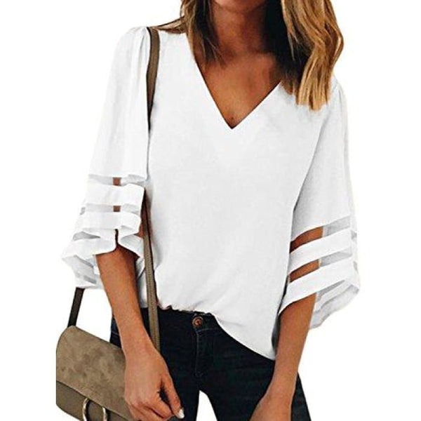 Summer 3/4 Bell Sleeve V Neck Casual Chiffon Blouse Small(Us4-6) / White