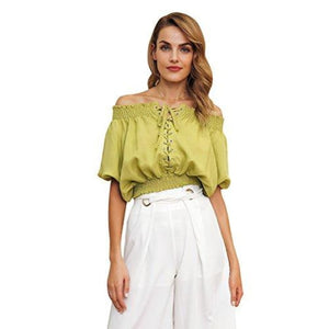 964786ae4435ec Sainaluv - Summer Casual Loose Off Shoulder Lace Up Blouse Shirts ...