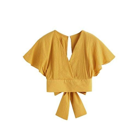 Summer Cute Short Sleeve Bow Tie Crop Blouse Top