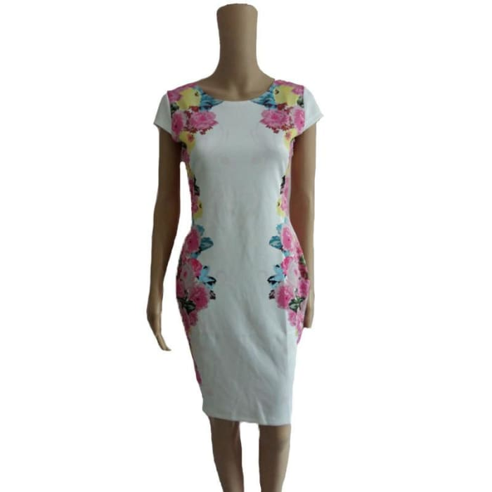Summer Dress 2015 Floral Print Dress Women White Bandage Sleeveless Casual Knee Length Dresses Elegant Vestido Plus Size 2867 Dresses