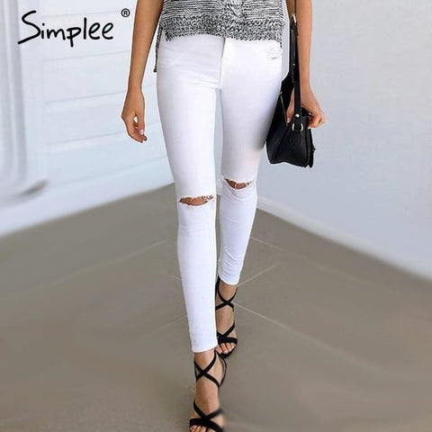 Summer Style White Hole Ripped Jeans