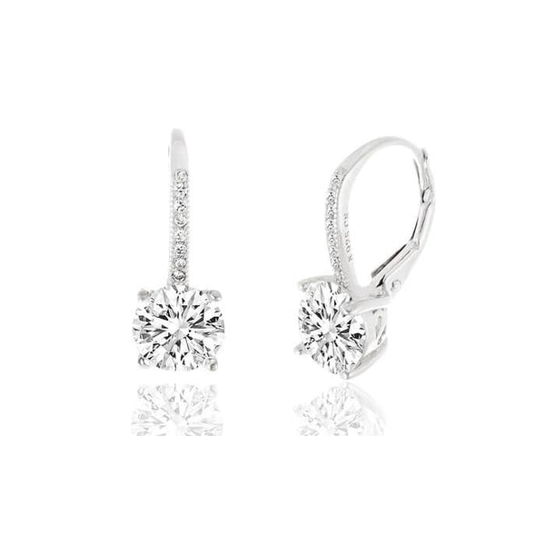 Swarovski Elements Crystal Leverback Earrings In Sterling Silver