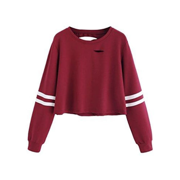 Sweatyrocks Womens Tshirt Long Sleeve Distressed Crop T-Shirt Top X-Small / Burgundy #1 Knits & Tees