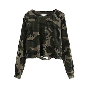 Sweatyrocks Womens Tshirt Long Sleeve Distressed Crop T-Shirt Top X-Small / Camo #1 Knits & Tees