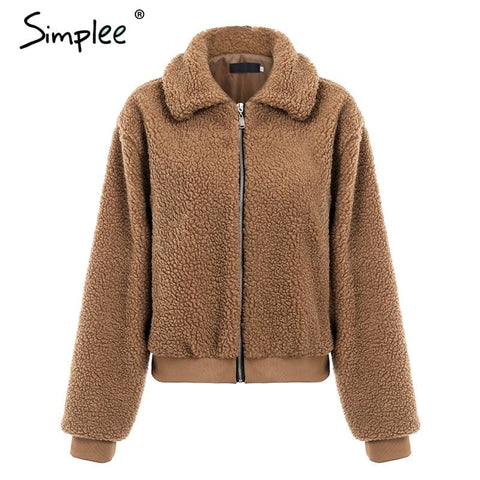 Teddy Bear Brown Fluffy Faux Fur Jackets Coat